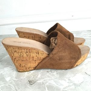 Nine West Ersilia Brown Suede Cork Wedge Sandals